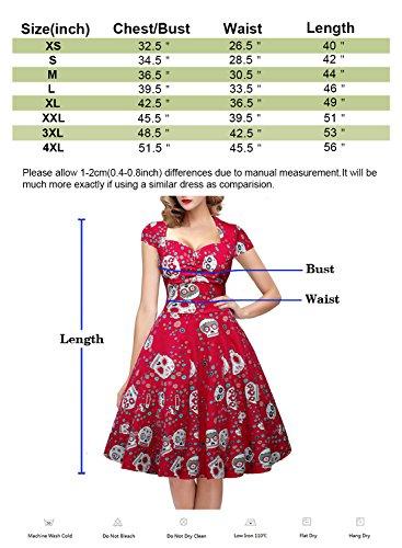 OTEN Damen Vintage Floral Zucker Schädel Print Sommer Party kleid Rot