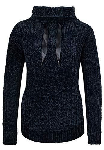 Stitch & Soul Damen Strick Rollkragen-Pullover mit Satinband Dark-Blue M -