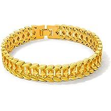 Fate Love Diamantschliff 18K Gold Armreif versilbert Charm Armband für Herren 21,5cm in Geschenkbox