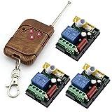RF AC 220V 1000W One transmisor de 3x 1canal relés Smart Wireless Remote Control Switch peach-wood Color transmisor