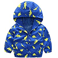 EZB Childrens Unisex Dinosaur Windbreaker Jacket (Blue/Yellow)