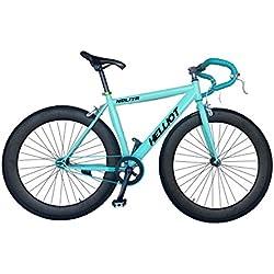 Helliot Bikes Fixie Nolita 55 Bicicleta Urbana, Hombre, Azul / Verde, Talla Única