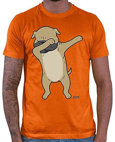 HARIZ Herren T-Shirt Hund Gedruckt Hund Haustier Plus Geschenkkarte Orange XL -