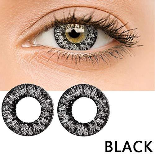 bulrusely Make-up-Zubehör für Mädchen, EIN Jahr, ändert die Augenfarbe natürlich, Cosplay, Halloween-Party, etc. 1 Paar (Funktion ohne Korrektur, 0 Grad) Schwarz