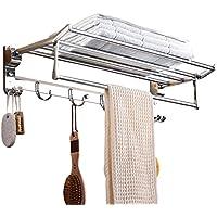 Kernorv plegable baño estante toallero estante toallero de toallero en la pared de acero inoxidable estante soporte con doble ganchos