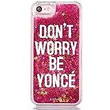 "Funda Rosa Agua "" Dont Worry be Yonce "" Carcasa con estrellas purpurina fucsia brillante Tpu silicona con liquido interior para iPhone 7 Plus / iPhone 8 Plus"