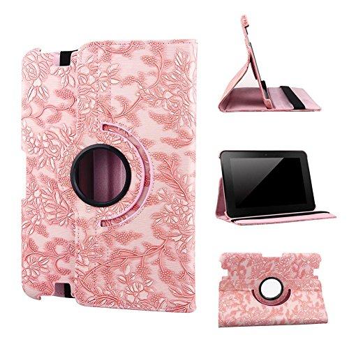 Preisvergleich Produktbild hellpink Revesun 360 Degree drehbar Magnet Leder Schutzhülle mit Aufstellfunktion für Weinreben Muster für das Kindle Fire HD 271,27 cm