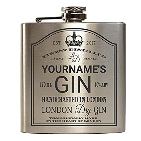 E-Volve Hip Flask - 6oz - Personalised Stainless Steel - Mat Brushed Silver - 'Your Name' London Dry Gin - Silver