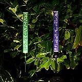 Lvyleaf 2 Stück Outdoor Garten Solarleuchten, Farbwechsel LED Garten Stake Lights mit Bubble Tube für Garten Terrasse Pathway Hinterhof Dekoration
