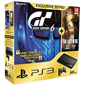 NEW! Sony Playstation 3 PS3 500GB Slim Console + Gran Turismo 6 + The Last Of Us