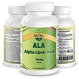 ALA, Beste Alpha-Liponsäure Nahrungsmittelergänzung, Vorteile: bessere Verdauung, gesteigerte Kreatin- und Aminosäureaufnahme, besseres Muskelwachstum, hochdosiertes Antioxidant, 250mg, 90 Kapseln