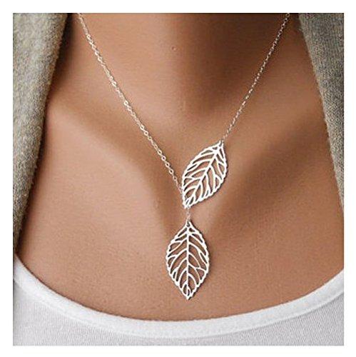 malloomr1-piezas-mujer-ninas-simple-metal-doble-hoja-colgante-gargantilla-collar-plata-silver