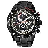 Seiko Sportura - Orologio da uomo con cronografo, a energia solare, in acciaio INOX, 100 m, colore: nero, SSC373