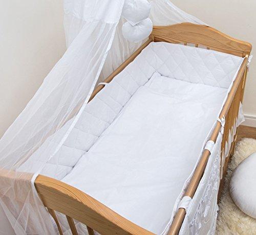 Extra Lang für Babybett Bumper 420cm 140x 70–Diamant - Stoßstange Kinderbett Weiße Bettwäsche