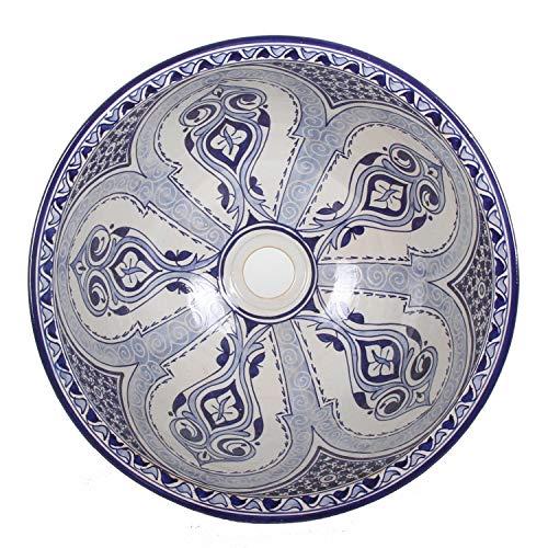 Mediterrane Keramik-Waschbecken Fes94 rund Ø 40 cm bunt Höhe 18 cm Handmade Waschschale | Marokkanische Handwaschbecken Aufsatzwaschbecken für Bad Waschtisch Gäste-WC