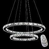 63W LED Kristall Design Hängelampe Deckenlampe Pendelleuchte Kreative Kronleuchter Zwei Ringe Dimmbar Lüster (63W Dimmbar)