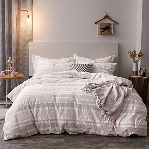 Lausonhouse Bettwäsche-Set Seersucker aus 100% Baumwolle, gewebt, für Queensize-Betten und King-Size-Betten Full/Queen hellgrau -