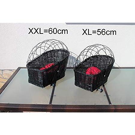 Marcus´ Weidenhandel Hundefahrradkorb für Gepäckträger aus Weide mit Metallgitter und Kissen Schwarz XL oder XXL…