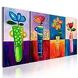 murando handgemalte Bilder Blumen 120x60cm Gemälde 4 TLG blau rot gelb 22370