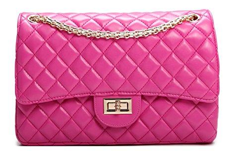 HandbagCrave® Envy Gesteppte Goldkette / Silber Kette Hardware Klappe Tasche Umhängetasche Clutch Bag Pink - Gold Chain