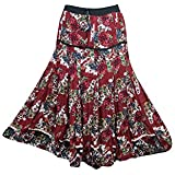 Boho Chic Designs Womans Maxi Skirt FLAUNTING Floral Maroon Tiered Sexy Gypsy Flare Long Skirts Medium