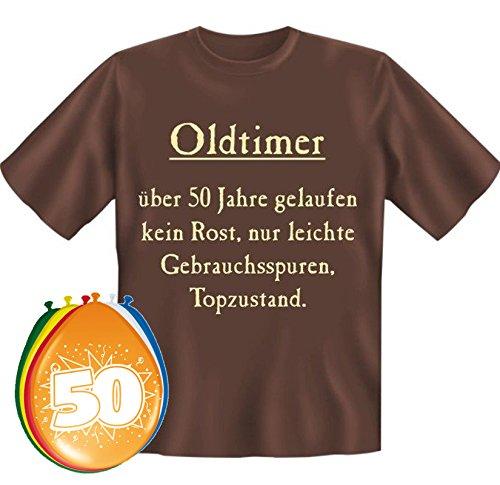 MakenGO & Co. KG Fun-Shirts-Geschenke-Textildruck T-Shirt Oldtimer über 50 Jahre gelaufen Größe XL zum 50. Geburtstag + 8 Luftballons