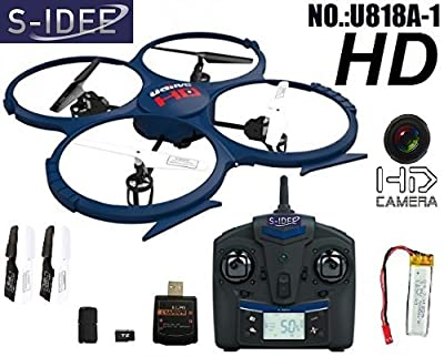 s-idee® 01202 Remote Control Quadrocopter U818A-1PRO HD Camera 4.5 Channel 2.4 GHz with Gyroscope Technology and Battery Indicator Brand New, for indoors and outdoors, with built-in gyro and 2.4 GHz controller. Ready to fly!