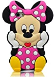 Angelina(TM) Branded 3D Cute Cartoon Minnie Mickey Mouse Soft Silicone Case Cover for iPhone 5 5G Pink Color