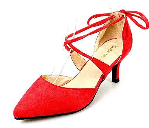 AalarDom Femme à Talon Haut Pointu Lacet Couleur Unie Chaussures Légeres Rouge