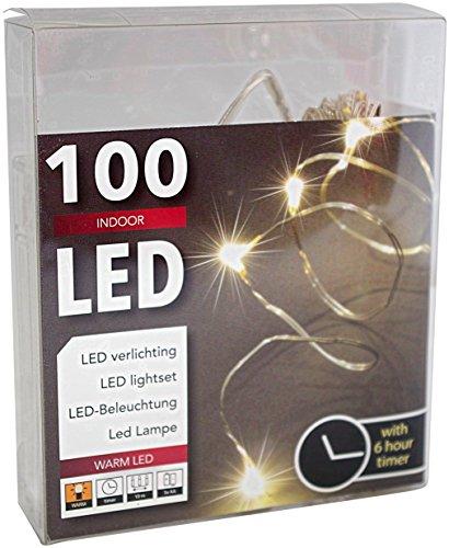 Led Draht Lichterkette Batterie mit Timer 100 Lämpchen Micro Tropfen auf biegsamen Silberdraht