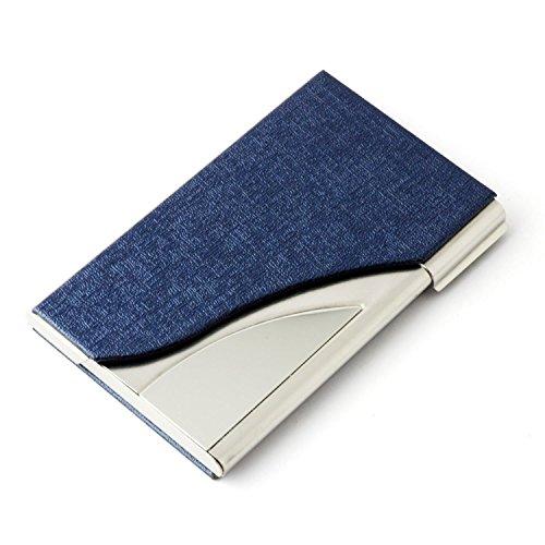 Tobeit Metall Etui Visitenkarten aus PU Leder und Edelstahl Visitekartenetui/Visitenhalter für Mann und Frauen (blau)