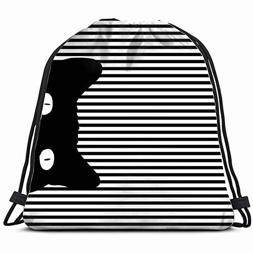Funny&shirt pop Art cat Striped 3D Print Drawstring Backpack Rucksack Shoulder Bags Gym Bag 17X14 Inch