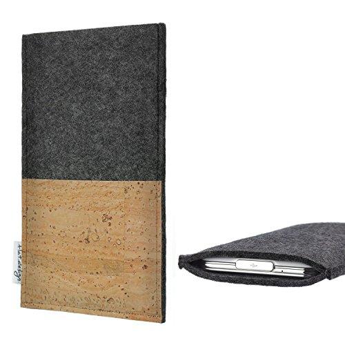 flat.design Handytasche Evora mit Korkfach für Huawei P20 Lite Single-SIM - Schutz Case Etui Filz Made in Germany in hellgrau mit Korkstoff - passgenaue Handy Hülle für Huawei P20 Lite Single-SIM