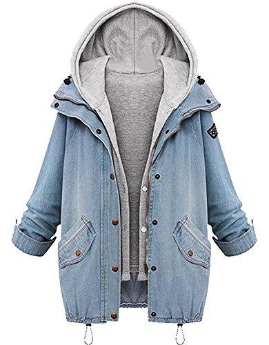 Sitengle Damen Jeansjacke Denim Winterjacke Blazer Langarmshirt 2 in 1 Kurzjacke Freizeit Blusen Oberteil Strickjacke Jäckchen Tops Mäntel Outwear Mit Zipper Blau 2XL/EU40-42 (42 Sport Kurz Coat)