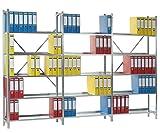 SMARTFACTS Archiv Regalsystem mit 15 Stahlböden für Aktenregal, Büroregal oder Ordnerregal, HxBxT 190 x 282 x 30 cm