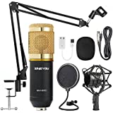 zingyou micrófono de condensador BM-800con brazo de suspensión ajustable, amortiguadores metálicas antigolpes y filtro antirruido doble capa–para estudio de grabación y radiocomunicación, dorado