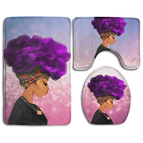 African American Black Women Girl with Purple Hair Skidproof Toilet Seat Cover Bath Mat Lid Cover Pink -
