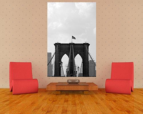 """Preisvergleich Produktbild Bilderdepot24 Vlies Fototapete """"Brooklyn Bridge USA 2 - schwarz weiß"""" 65x100 cm - direkt vom Hersteller, inklusive Kleister"""