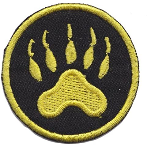 Wildlife Bear Cat Tiger Dog Fox Paw Claw Foot Yellow/Black Iron on Sew on Embroidered Patch From PatchWOW by