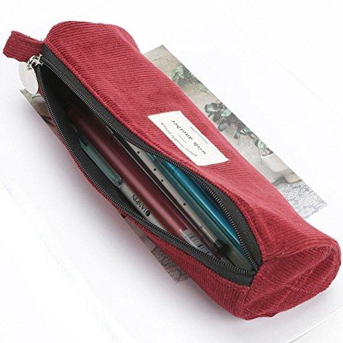 Gozar caso di matita di stoccaggio di velluto a coste di colore solido semplice astuccio per matite di grande capacità astuccio per matite bello rosso