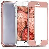 kwmobile Custodia protettiva retro in silicone TPU per Apple iPhone SE/5/5S, Protezione 360 gradi, Oro rosa metallizzato