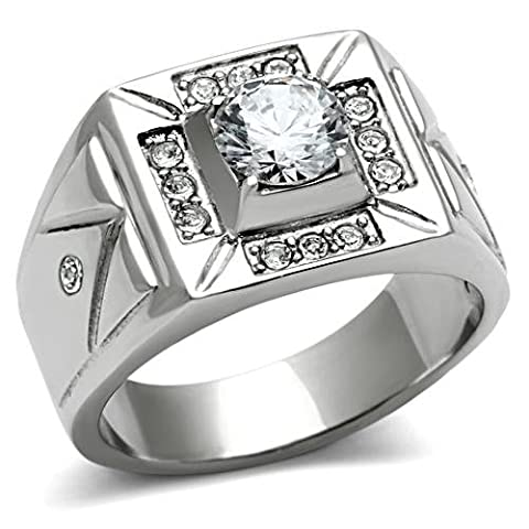 Men's 1.85ct Stainless Steel Cubic Zirconia Ring. 10.4gr Total Weight. Stamped 316. Never Tarnish. Centre Stone 6.5mm Surrounding With 3 Lab Diamonds On Each