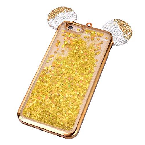 GrandEver iPhone 6S Plus Glitzer Hülle iPhone 6 Plus Weiche Silikon Handyhülle Diamant Maus Ohren Gel Bling Electroplate TPU Bumper Liquid Fließen Flüssigkeit Schutzhülle für iPhone 6 Plus/iPhone 6S P Gold