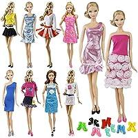 ZITA ELEMENT 10 Stück Puppensachen Kleidung Set für Puppenkleidung Sommerkleid Kleider Casual Kostüm mit Schuhe Bekleidung Zufälliger Stil