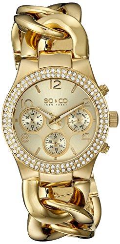 So & Co SOHO New York Damen-Quarz-Uhr mit Gold Zifferblatt Analog-Anzeige und Edelstahl Armband 5013A.2