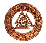 Windalf Pagan Vikinger - Cuadro de Madera (diámetro de 35 cm, Hecho a Mano de Madera), diseño de runas vikingas
