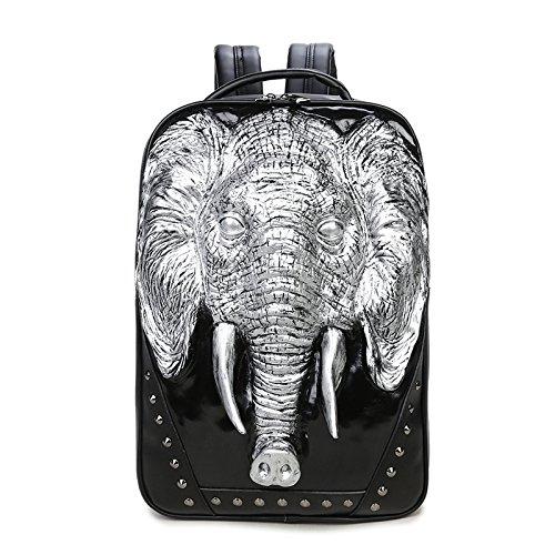 SZH 3D Elefanten-Muster-Dekor-haltbarer wasserdichter PU-wandernder Spielraum-Rucksack-Laptop-Rucksack Silver