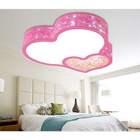 PinWei@ Camera bambini plafoniera LED lampada da soffitto, lampada da soffitto a forma di cuore,,50 * 9cm rosa 36W