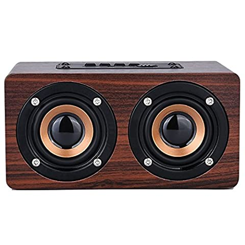 misodiko Portable Bluetooth Wooden Speaker with Microphone, Loudspeaker with Enhanced Bass Boombox (Wine Wood)
