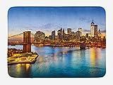 MSGDF United States Bath Mat, York City Skyline Over East River Brooklyn Bridge Twilight, Plush Bathroom Decor Mat with Non Slip Backing, 15.7X23.6 inch, Blue Dark Orange Yellow